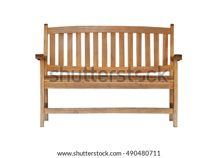 wooden chair or wood bench isolated on white background and have clipping paths. #490480711