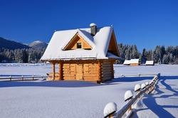 Wooden chalet in winter in Zakopane - Tatra Mountains