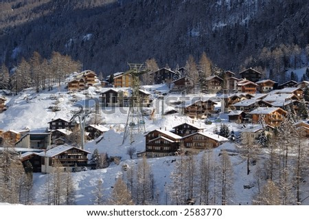 Wooden chalets in Zermatt, Switzerland