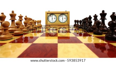 wooden chess board with wooden chess pieces and chess clock