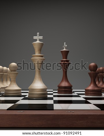 wooden Chess kings on a blackboard High resolution. 3D image