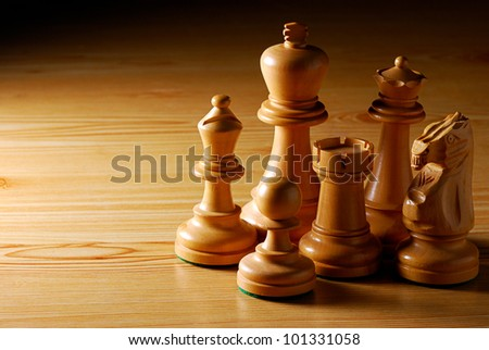 Wooden Chess on Wooden Table