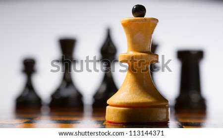 Wooden chessboard with chessmen