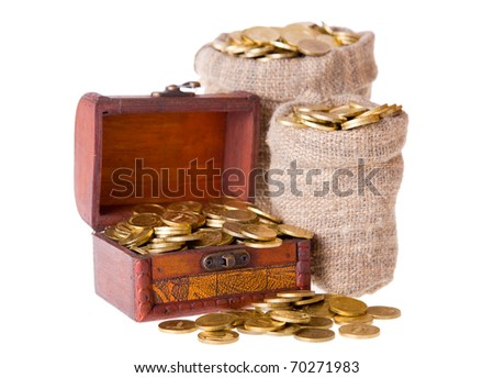 Wooden chest and two bags filled with coins. Isolated on a white background