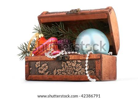 Wooden chest full of Christmas balls