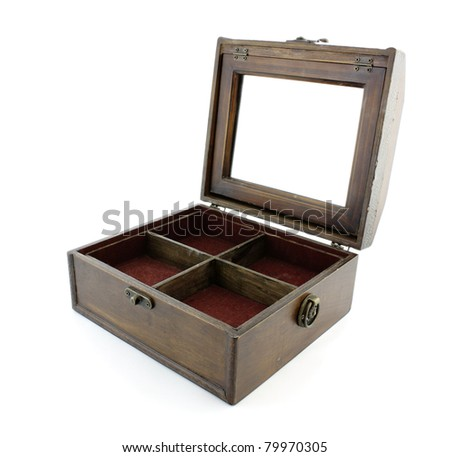 Wooden Chest with mirror - stock photo
