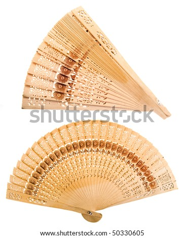 wooden chinese hand fan isolated on white background - stock photo