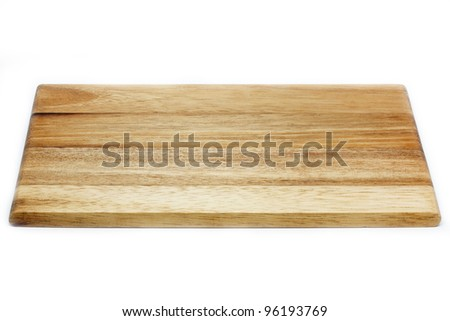 Wooden chopping board, isolated on white background