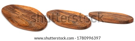 Wooden chopping Board isolated on white. Set of wood Cutting Boards in different angles shots in collage for your design. Kitchen board oval form.