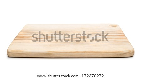 Wooden chopping board on white background  Foto stock ©