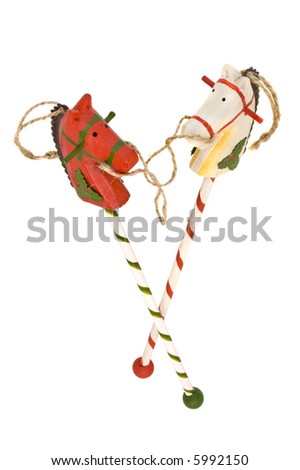Wooden Christmas horses, isolated white