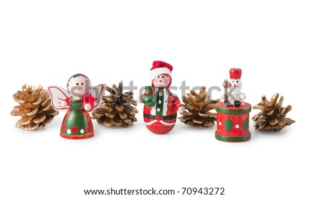 Wooden Christmas toys isolated on a  white background