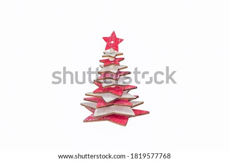Wooden Christmas Tree Decoration, isolated on a White Background stock photo