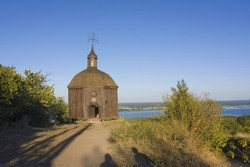 Wooden chruch on the banks of the Dnieper in Vytachiv, Ukraine