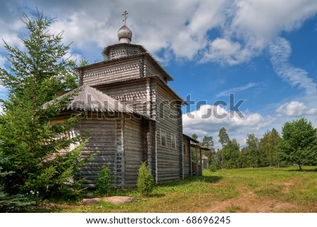 Wooden church in Novgorod region, Russia