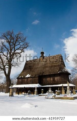 Wooden church in winter