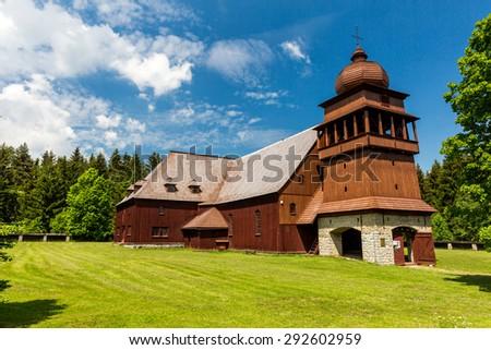 Wooden church Svaty Kriz, Slovakia on June 3, 2015 Stok fotoğraf ©