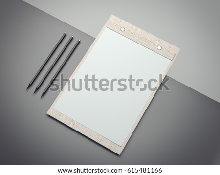 Wooden clipboard with blank white paper sheets isolated on gray. 3d rendering