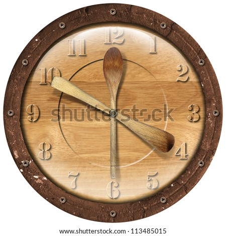 Wooden Clock Lunch Time / Old grunge clock with ladles - concept lunch time on white background