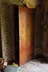 Wooden closet door partially open. Natural light.