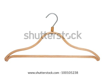 Wooden clothes hanger isolate on white.