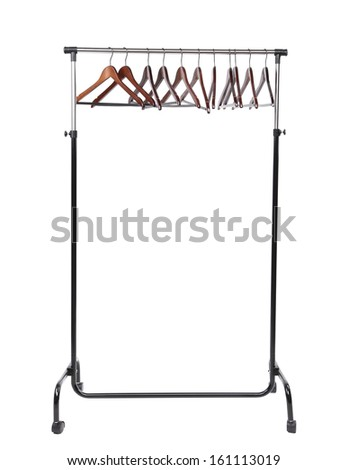 Wooden clothes hangers. Isolated on a white background.
