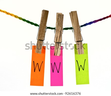 Wooden clothes pin and colorful words series on rope