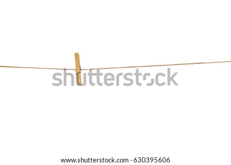 Wooden Clothespins with the rope on a white background