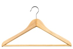 Wooden coat hanger / clothes hanger on a white background. Potential copy space above and inside hanger.