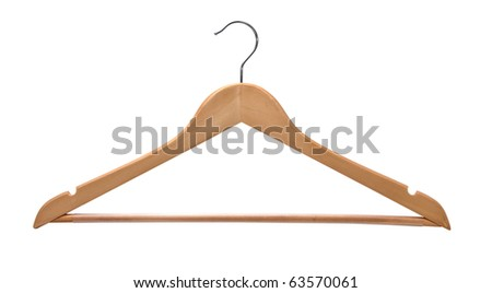 Wooden coat hanger isolated on a white background.