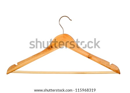 Wooden coat hanger isolated on white