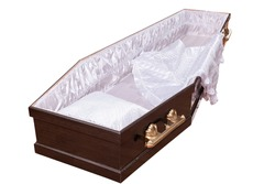wooden coffin for burial to grave