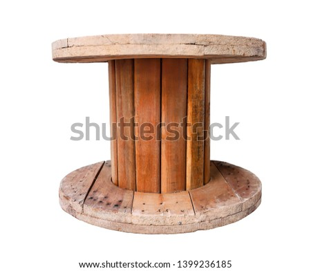 Wooden coil of electric cable empty cable spool isolated on white background isolated on white background isolated  #1399236185