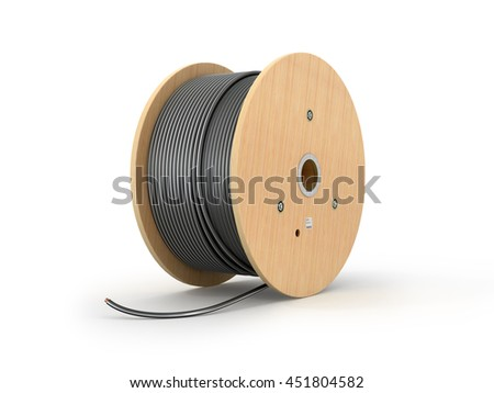 Wooden coil of electric cable isolated white background. 3D illustration. Сток-фото ©
