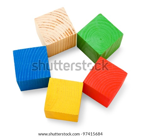 Wooden colored cubes stacked in the shape of flower isolated on white background