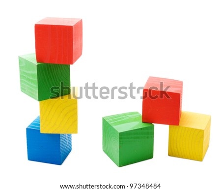 Wooden colored cubes tower toys isolated on white background