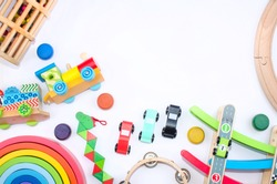 wooden colored toys whit montessori pedagogy and space for text