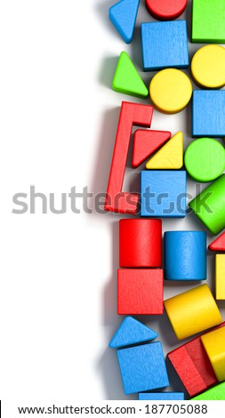 Wooden colorful bricks vertically structured on white background