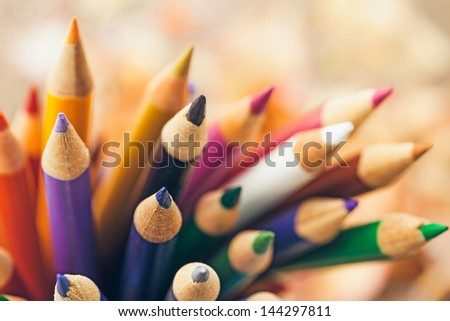 Wooden colour pencils in close-up.