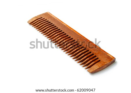 wooden comb isolated on white