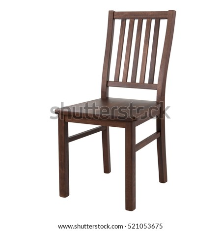 Wooden comfortable chair isolated on white background - Shutterstock ID 521053675