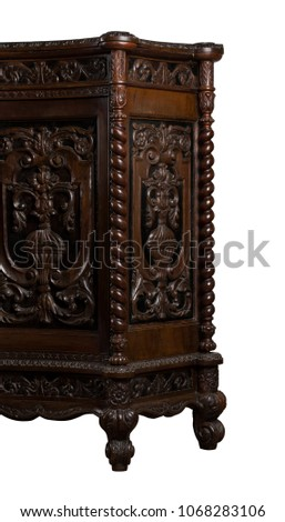 Wooden console table isolated #1068283106