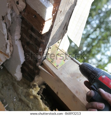 Wooden construction for the installation of a skylight is attached - stock photo