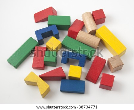 Wooden construction kit for children that consists of many wooden geometric shapes in different colors and sizes for building anything you can imagine.
