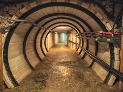 Wooden corridor with door in the salt mining caves