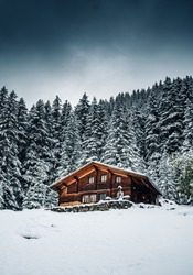 wooden cottage in a winter fairytale forest
