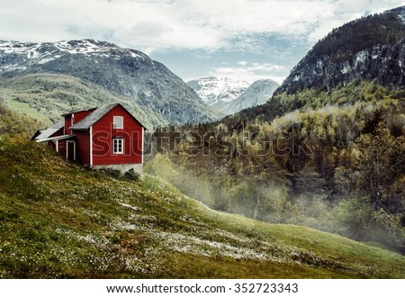 wooden cottage in the valley....