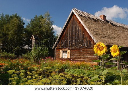 Wooden Cottage with sunflowers in front