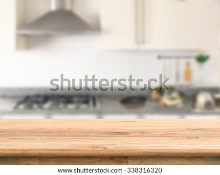 wooden counter top with kitchen cabinet background #338316320