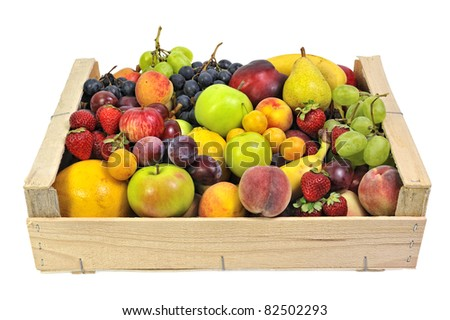 wooden crate full of fruit
